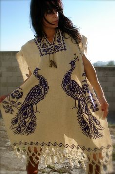 Beautiful Gypsy Vintage Hand Embroidered Peacocks Mexican Poncho 1960s 1970s. $125.00, via Etsy.