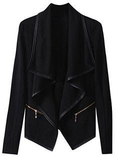 f7df5889598a ARTFFEL Womens Plus Size Zip-Up Faux-leather Moto Cardigan PU Jacket Black  XL