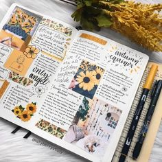 12 Bullet Journal Hacks That You Need To See! - Bullet Planner Ideas - 23 Stunning Sunflower Themed Bullet Journal Layout and Spread Ideas - Bullet Journal School, Bullet Journal Hacks, Bullet Journal Notebook, Bullet Journal Ideas Pages, Bullet Journal Layout, Bullet Journal Inspiration, Book Journal, Photo Journal, Bullet Journals