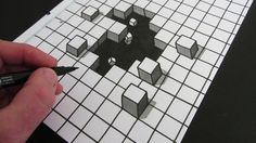 Reminiscences 1865 How to Draw a Hole: 3D Illusion Great Tromp l'oeil easy lesson. Tie to Minecraft and boys will buy in for sure!