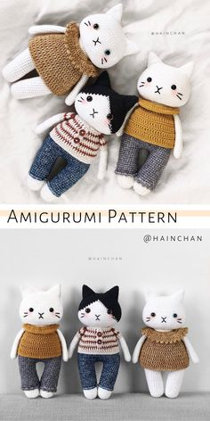 Adorable cat dolls amigurumi pattern for beginners. Easy crochet cat tutorial by HainChan. Adorable cat dolls amigurumi pattern for beginners. Easy crochet cat tutorial by HainChan. Easter Crochet Patterns, Crochet Cat Pattern, Diy Crochet And Knitting, Crochet Patterns Amigurumi, Cute Crochet, Crochet Crafts, Crochet Dolls, Crochet Baby, Crochet Projects