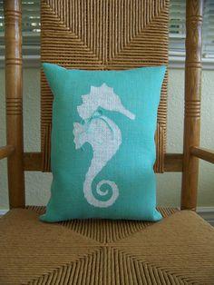 Seahorse pillow Beach pillow Nautical pillow by KelleysCollections
