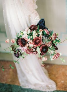 Flashback to the Ultra Romance of Old World Venice Italy- romantic burgundy and dusty pink wedding bouquet - Fall Wedding Bouquets, Fall Wedding Flowers, Bridesmaid Bouquet, Floral Wedding, Bridal Bouquets, Flower Bouquets, Bridesmaid Dresses, Wedding Dresses, Dusty Pink Weddings