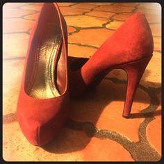 "BCBGeneration Red 4 1/2"" Stilleto. Worn once! Rust Red Suede Heels👠👠 BCBGeneration Shoes Heels"