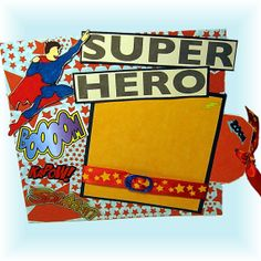 Scrapbook Page, Super Hero Boy, Bright Colors, Premade, Self Standing