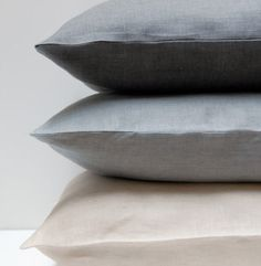 The EMILE collection features charcoal, mineral, and crème 100% pure linen duvet covers, bagstyle pillowcases (sold in pairs), euro shams and french-back body pillow cases. Linen is cool, long lasting, lint free, and gets softer with every wash.