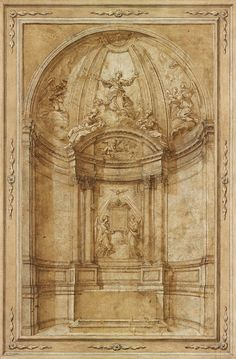 Workshop of Gian Lorenzo Bernini Project for the Apse and High Altar of S. Maria in Via Lata, Rendering Drawing, Gian Lorenzo Bernini, Ornament Drawing, Italian Sculptors, Building Painting, Architectural Prints, Grisaille, Greek Art, Italian Art