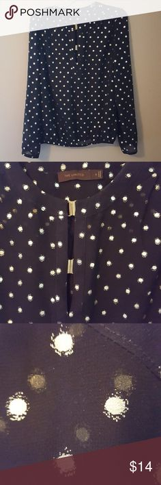 Limited Blouse with Gold Dots Black long sleeve blouse with gold dots. From The Limited. Transparent, looks great over a black tank top or camisole. Very light and flowy. Two gold clasps at the top of the shirt. Tops Blouses