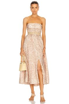 Zimmermann Carnaby Bustier Midi Dress in Pink Leopard Dressy Dresses, Event Dresses, Strapless Dress Formal, Nice Dresses, Corset Dresses, Leopard Dress, Pink Leopard, Satin Lingerie, Lingerie Models
