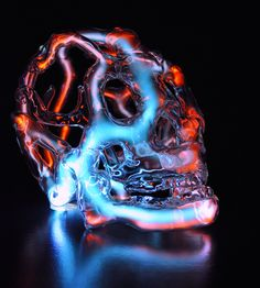Portland artist Eric Franklin (previously) just completed three new works, a trio of neon glass skulls lit internally by ionized neon, krypton, and mercury.