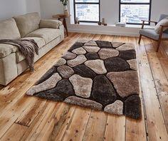 Covor pufos maro, 120x170 cm, Stil modern, Model geometric, Noble House - hoome.ro
