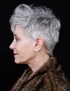 Textured Gray Pixie For Older Women