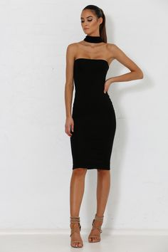 Michaela Multi Way Black Choker Dress from Meshki Boutique Pretty Outfits, Pretty Dresses, Sexy Dresses, Fashion Dresses, Formal Dresses, Choker Dress, Velvet Fashion, Dress Makeup, White Dress