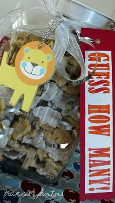 Circus baby shower guess how many animal crackers are in the jar game halloween babyshower ideas Baby Shower Games, Baby Shower Parties, Baby Boy Shower, Shower Party, Babyshower, Lion King Baby Shower, Circus Baby, Animal Crackers, Baby Shower Decorations