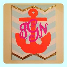 Chevron print, bright anchor, and a pretty monogram... maybe another shape in background