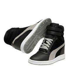 Black & Limestone Gray Sky Wedge Sneaker by PUMA on #zulily