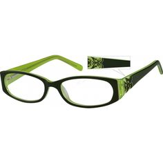 A full-rim acetate frame with spring hinges, a relief butterfly pattern on the temples.