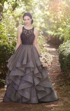 Black wedding dress Brody Bodysuit + Stevie Skirt Not necessarily this style, but the color is gorgeous, and would look beautiful with your eyes/ up against the orange dresses. Indian Gowns Dresses, Ball Dresses, Ball Gowns, Evening Dresses, Prom Dresses, Dress Prom, Party Dress, Bridesmaid Dresses, Formal Dresses