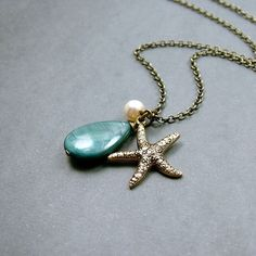 Caribbean Starfish Necklace in Antiqued Brass