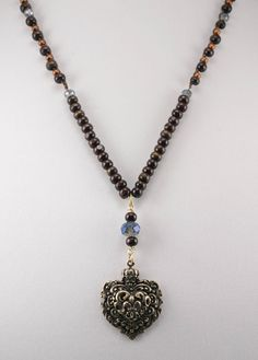 Wood Beaded Necklace With Heart Pendant