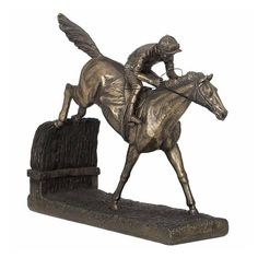 Unicorn Studios Jockey on Horse Jumping Hurdle Cold Cast Bronze Figurine, As Shown Elephant Sculpture, Lion Sculpture, Greyhound Art, Running Horses, Wildlife Safari, Horse Jewelry, Animal Statues, Black Panther, Bronze