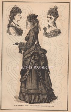 Black Mourning Dress & Veil-Grief-Pattern-Hat-Funeral-Fashion-Victorian-Grief-Outfit-Clothing-1873 Antique Vintage Art PRINT-Gothic Picture via Etsy