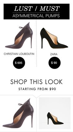 """""""Lust/Must: Asymmetrical Pumps"""" by polyvore-editorial ❤ liked on Polyvore featuring Christian Louboutin, Piel Leather and lustmust"""