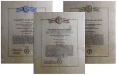 """USAF AWARD PLAQUES - These 12"""" x 14.5"""" award plaques are beautiful wood reproductions of the original decoration certificate. The face is maple veneer, ornamented with raised medal and ribbon, engraved with full text of award citation and finished with a thick, durable epoxy. Currently available: USAF Meritorious Service Medal, USAF Commendation Medal  & USAF Achievement Medal. Contact me through Facebook at www.facebook.com/collectablewoods or email at bmwelch@collectablewoods.com"""