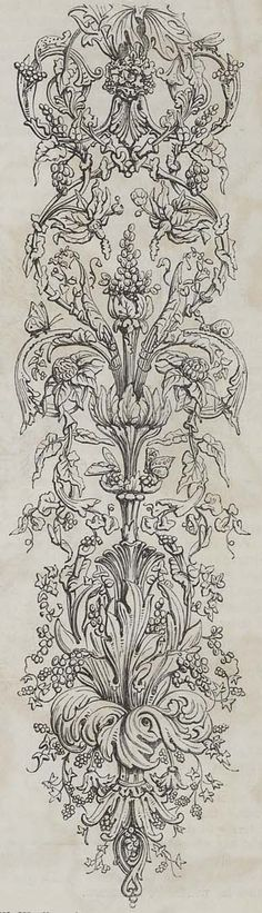 Arabesque wallpaper design, produced by William Woollams and Co in 1849.