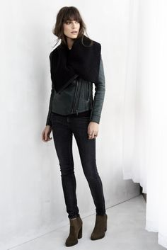 vegan leather jacket in [ matches the drapes ] and skinny classique in [ grey day ]