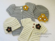 CROCHET PATTERN Toddler Cardigan and Beanie (4 sizes included) Instant Download
