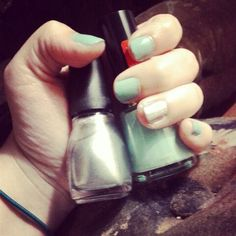 The mint color is Eclectic by Revlon and the silver is Daddy's Credit Card by Spoiled.