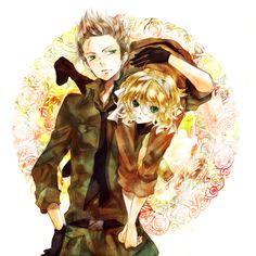 Willem and Anouk (head-canon names for Netherlands and Belgium respectively) - Art by Ta Eiko