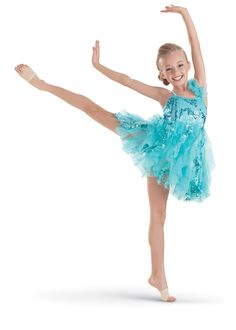 Your young dancers will love costumes with sparkles, like this layered dress with a sequin pattern by Weissman Designs for Dance. #FashionFriday