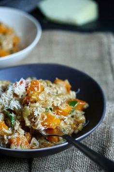 Today, our month of meatless meals continues with this Spanish-inspired butternut squash risotto....