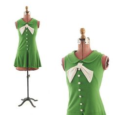 60's Green Mini MOD Baby Doll Sailor Scooter Drop Waist Party Dress
