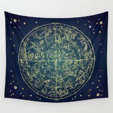 Zodiac Star Map Wall Tapestry