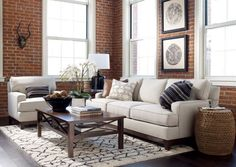 Heather Woven Stool inspired living room. Come see this custom design at Ethan Allen Design Centers