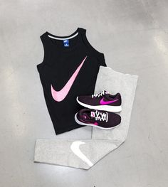 SHOP THIS LOOK legging shoes uscle Tank Prep Swoosh #Bottom - Nike Club Logo #LeggingShoes - Nike Tanjun Look Legging, Nike Tanjun, Women's Fashion, Fashion Trends, Athletic Tank Tops, Club, Logo, Shop, Fashion Women