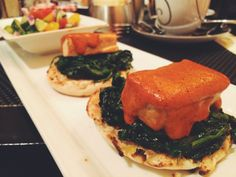 florentine benedict with tofu, spinach  romesco from society cafe in Wynn Hotel - Las Vegas