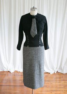 25dd33832b Miss Holloway dress vintage 50s dress black wool 50s
