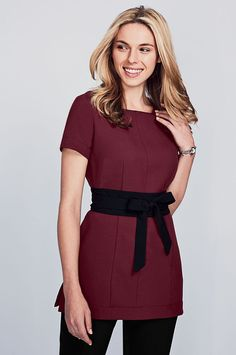 Autumn sophisticated mulberry beauty tunic with slash neck and black decorative sash, perfect for many professions including beauty, hairdressing, spa… - Typical Miracle Beauty Tunics, Salon Wear, Salon Uniform, Corporate Uniforms, Uniform Design, Work Attire, Sash, Hairdresser, Work Wear