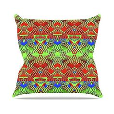 KESS InHouse AL2011AOP03 18 x 18-Inch 'Anne LaBrie Mystic Flow Green Red' Outdoor Throw Cushion - Multi-Colour ** Want to know more, click on the image. (This is an affiliate link) #GardenFurnitureandAccessories