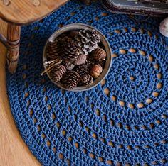Dark Blue Crochet Rug Floor Mat Nursery Rug Baby Room by MeruHome