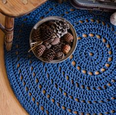 Dark Blue Crochet Rug, Floor Mat, Nursery Rug, Baby Room Rug, Home Decor…