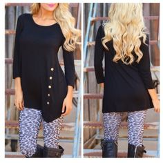 • Black Side Button Tunic • Black quarter sleeve side button down tunic. So stretchy and comfy. True to size. 95% rayon, 5% spandex. DO NOT purchase this listing. Please comment below with what size you need and I will make a separate listing for you. Jennifer's Chic Boutique  Tops Tunics