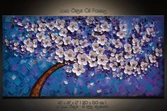 Original Abstract Cherry Blossom Tree Painting by LanaGuise, $295.00
