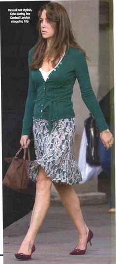 Kate Middleton street style from before her marriage...skirt and cardigan