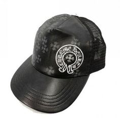 2013 Chrome Hearts Leather Horseshoe Cross Charm Black Cap
