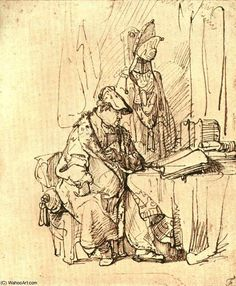 A Man Seated At A Table Covered With Books Rembrandt Van Rijn